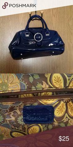 Patent faux leather handbag Cobalt blue, fun interior Charming Charlie Bags Satchels