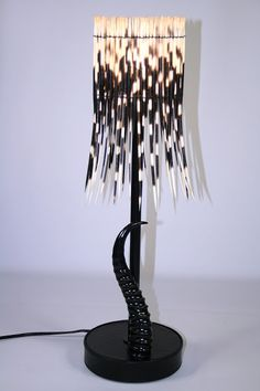 Drum Porcupine Quill X-Small Shade and Black Springbok Horn Base Lamp
