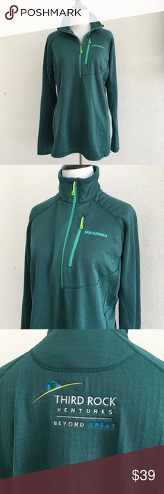 Patagonia woman's Aqua Half Zip Jacket size L Preowned authentic Patagonia woman's Aqua Half Zip Jacket size L. It has a logo in the back. Please look at pictures for better reference. Happy shopping! T6 Patagonia Tops Sweatshirts & Hoodies