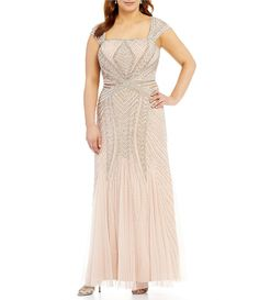 ffb1114d944 Adrianna Papell Plus Cap-Sleeve Beaded Gown-Dillards  389 Plus Dresses