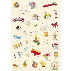 vintage toys retro poster print