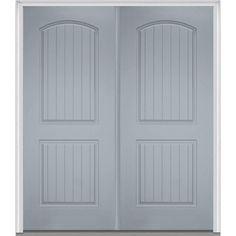 Milliken Millwork 72 in. x 80 in. 2-Panel Planked Painted Fiberglass Smooth Double Prehung Front Door, Storm Cloud