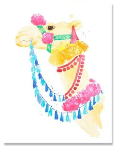 Framed Colorful Marrakesh Camel Wall Art Print - IN STOCK IN GREENWICH FOR QUICK SHIPPING - ON SALE!