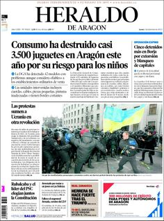 Los Titulares y Portadas de Noticias Destacadas Españolas del 2 de Diciembre de 2013 del Diario Heraldo De Aragón ¿Que le pareció esta Portada de este Diario Español?