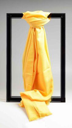 Yellow plain scarf, 100% cashmere,  75.2 x 27.7 inch - 190 x 70 cm.