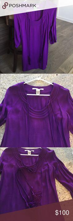 Silk DVF dress Beautiful silk purple DVF dress. Theee quarter sleeve and tassels. Perfect for a shower or work. Diane von Furstenberg Dresses Midi