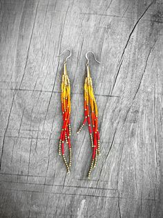 Sunset Seed Bead Fringe Earrings Long Dangle Earrings by KadhiBo, $44.00