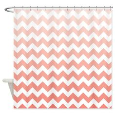Custom Coral Ombre Chevron Shower Curtain-Customize with colors of your choice - Standard & Extra long sizes available