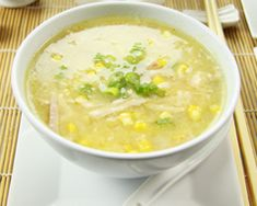 Chinese chicken and sweet corn soup:           1 leek, cleaned and white part finely diced      1 tbsp vegetable oil      4 cups chicken stock      1 BBQ chicken      1 x 425g tin creamed corn      2 eggs, lightly beaten      3 spring onions, finely sliced
