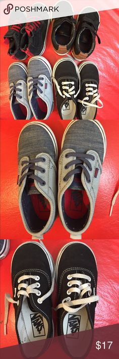 4 Pairs of Vans Off The Wall (one leather pair ) Pre_loved Vans Sneakers  good used condition.  4 pairs for $17   Discounts given to bundle orders. These shoes have not been cleaned. Vans Shoes Sneakers