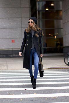 Black military coat + gray sweater + black beanie + skinny jeans + black suede booties