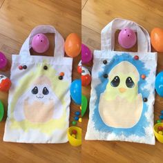 Look what we have been making today Easter treat bags great for Easter egg hunts each or personalised with a name.