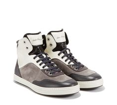 Salvatore Ferragamo - High-top sneaker - HIGH TOP SNEAKER IN WASHED CALFSKIN AND TEXTURED SUEDE ON A LAYERED RUBBER SOLE