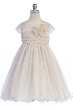 Champagne Soft Tulle Layered Flower Girl Dress with Short Sleeves - K298-CH K298-CH $46.95 on www.GirlsDressLine.Com