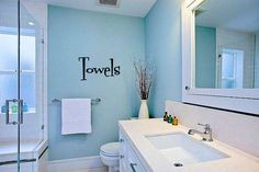 Towels Bathroom Vinyl Wall Words Decal Sticker Graphic