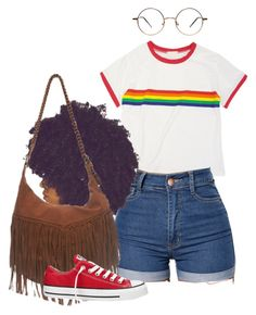 """Rainbow"" by melaninprincess-16 ❤ liked on Polyvore featuring Wet Seal and Converse"
