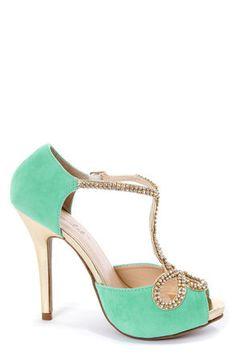 Mint and Gold Rhinestone T-Strap High Heels