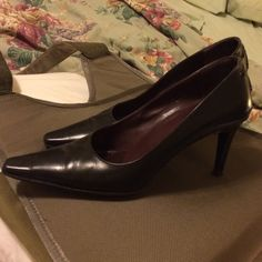 "Coach sexy Black heels Marked 7B run large need 7.5. Coach embossment on underside soles so clearly marked, worn maybe a few times, everything in good condition, 100% leather, sexy cross-cross faux corset-like lace-up heels, 3.5"" heel only measurement. Extremely comfortable! Coach Shoes Heels"