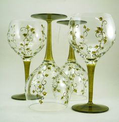 Hand painted glasses  Set of 4 blown by CreationsdeFlorence, $114.00