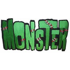 Large Green Monster Word Stitch Kreepsville Embroidered Iron On Applique Patch