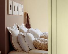 Keep the mood restful in the bedroom with warm, soft shades of cream and brown on the walls, against crisp cotton bed linen and textured cushions. Bedroom Wall Paint Colors, Calming Bedroom Colors, Cosy Bedroom, Master Bedroom, Bedroom Decor, Comfy Bed, Colorful Decor, Color Inspiration, Bed Pillows