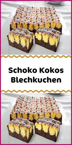 Chocolate coconut sheet cake - Ingredients FOR THE COCONUT PART 200 ml coconut milk 200 ml whipped cream 40 grams corn starch 60 g - Chocolate Cake Recipe Easy, Chocolate Cookie Recipes, Homemade Chocolate, Easy Cupcake Recipes, Snack Recipes, Dessert Recipes, Desserts, Coconut Sheet Cakes, Food Cakes