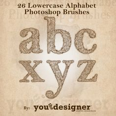 26 Lowercase Alphabet Photoshop Brushes