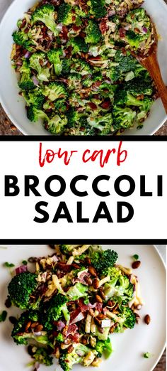 This easy and healthy Low Carb Broccoli Salad is perfect for your keto diet! You are going to love the crunch of bacon and pumpkin seeds combined with cheese, onion, and broccoli. Top is all off with a delicious dressing made with Swerve instead of sugar. #LowCarbBroccoliSalad #GrillingSides