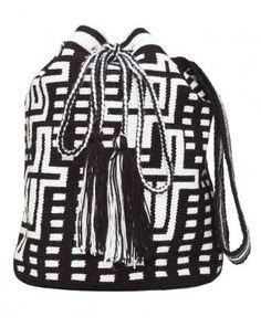 Small Black & White Wayuu Mochila Bag