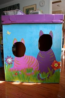 Pink and Green Mama: The Cardboard Box Cat Fort