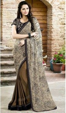 Chocolate Color Chiffon Lace Border Work Plain Pallu Saree   FH494375783 #party , #wear, #saree, #saris, #indian, #festive, #fashion, #online, #shopping, #designer, #usa, #henna, #boutique, #heenastyle, #style, #traditional, #wedding, #bridel, #casual, @heenastyle , #blouse, #prestiched, #readymade, #stiched