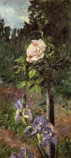 """Rose with Purple Iris, Garden at Petit Gennevilliers, Gustave Caillebotte Size: 79x36 cm Medium: oil on canvas"""