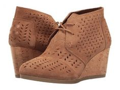 TOMS Desert Wedge Bootie (Toffee Suede Perforated Leaf) Women's Wedge Shoes