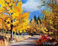 DPW Fine Art Friendly Auctions - Walking into Fall by Jennifer Beaudet #dailypainting #auction #art #autumn