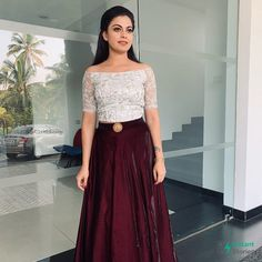 Burgundy and white combination, Long Skirt Top Designs, Long Skirt And Top, Crop Top Designs, Long Dress Design, Indian Gowns Dresses, Indian Fashion Dresses, Indian Designer Outfits, Skirt Fashion, Lehenga Designs