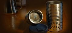 Portable flask and coffee press combo retains heat and taste. Like!