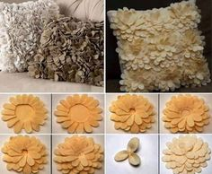 DIY Large Felt Flowers, very simple. Can be added to a pillow, a purse, or even a canvas for a nursery or for decor in your bathroom or bedroom. Very easy! Felt Flowers, Diy Flowers, Fabric Flowers, Paper Flowers, Sewing Pillows, Diy Pillows, Decorative Pillows, Cushions, Throw Pillows