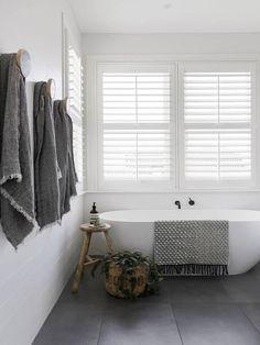 Home Decor Living Room .Home Decor Living Room Grey Bathrooms, Beautiful Bathrooms, Modern Bathroom, Small Bathroom, Dyi Bathroom, Stone Bathroom, Bathroom Towels, Bathroom Styling, White Bathroom Wall Tiles