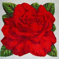 // red rose vintage hankie