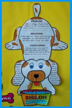 """""""Shiloh"""" by Phyllis Reynolds Naylor is a Newbery Award winning book about Marty and his dog Shiloh.  For these dog shaped templates created specifically for the story, students write about the problem, solution, conclusion, and they write character descriptions for Marty and Judd."""