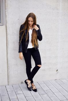 !by ANNA  - Fashion and Lifestyle Blog from Stuttgart: Leather Jacket & Lace Up Flats