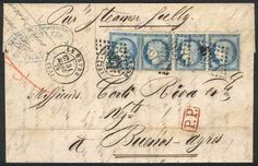 "France, 31/MAR/1875 LE HAVRE - ARGENTINA: complete folded letter franked by Yv.60C x4 (strip of 3 + single), numeral ""1769"" cancel and datestamp, excellent quality! Starting Price (11/2016): 112 EUR."