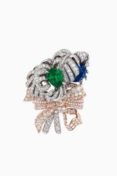 "DIOR. ""Double Panache Saphir Emeraude"" ring in white and pink gold, diamonds…"