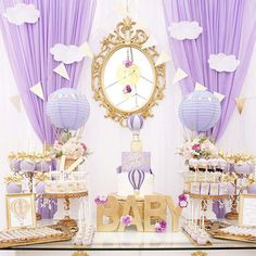 """838 Likes, 31 Comments - Catch My Party (@catchmyparty) on Instagram: """"I love this simple, yet elegant hot air balloon baby shower from @mjkreations.  The colors…"""""""