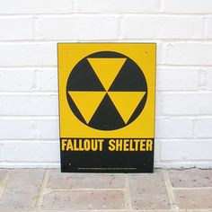 Original Vintage Metal Fallout Shelter Sign 1950's Cold War Era End of the World Not A Reproduction by timepassages on Etsy https://www.etsy.com/listing/219429722/original-vintage-metal-fallout-shelter