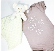 God Gave Me You unisex, organic onesie in cinder, by @thelightblonde