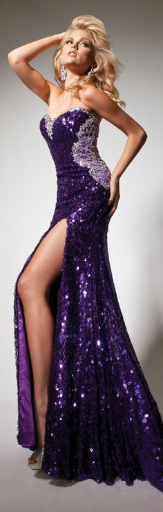 Purple Seqined Gown 2013
