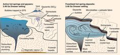 Schematic model of active Dresser hot spring system and its fossilized mineralized remnants. Left: proximal to distal hot spring facies, with spring vent fed by subsurface hydrothermal fluids. Right: preserved sequence of hot spring facies deposits, geographically patchy in nature, with spring vent infilled by late-stage crystallization of barite. Image credit: Djokic et al, doi: 10.1038/ncomms15263.
