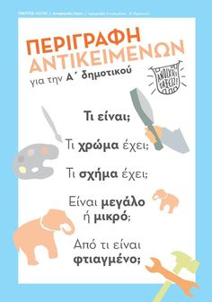 Πλάνο περιγραφής αντικειμένων Vocabulary Exercises, Grammar Exercises, Speech Language Pathology, Speech And Language, Early Education, Special Education, Learn Greek, Receptive Language, Grammar Book