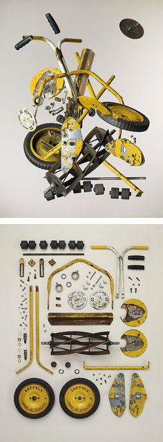 """Canadian artist and photographer Todd Mclellan explores the beauty of deconstructed objects in his latest series entitled """"Disassembled"""". """"Todd meticulously disassembles each device and carefully… Grid Design, Design Art, Modern Design, Collections Photography, A Level Art, Gcse Art, Canadian Artists, Deconstruction, Everyday Objects"""